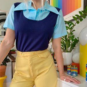 Deadstock 1970s color block dagger collar blouse